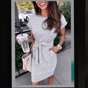 Dresses & Skirts - Two Left! HP 🎉 Gray and White Striped Shirt Dress